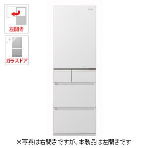 (標準設置料込)NR-E414GVL-W パナソニック 406L 5ドア冷蔵庫(スノーホワイト)【左開き】 Panasonic エコナビ