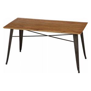 50598 不二貿易 スチールテーブル ニレ材天板 幅135cm(ブラウン&ナチュラル) TABLE