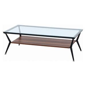 96227 不二貿易 ガラスリビングテーブル クレア 120幅(ダークブラウン) CLARA120