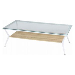 96228 不二貿易 ガラスリビングテーブル クレア 120幅(ナチュラル) CLARA120