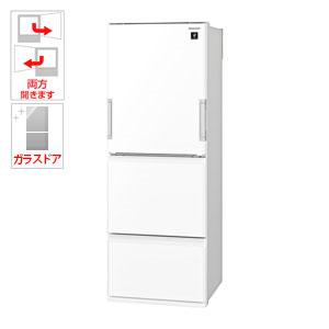 SJ-GW36E-W シャープ 356L 3ドア冷蔵庫(ピュアホワイト) SHARP どっちもドア