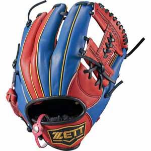 Z-BSGB52810-6423-RH ゼット ソフトボール用グラブ(サイズ4・左投用・レッド×ブルー) ZETT リアライズ オールラウンド