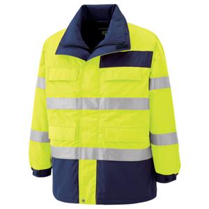 SE1124-UE-LL ミドリ安全 高視認性 防水帯電防止防寒コート イエロー LL