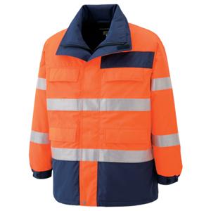 SE1125-UE-L ミドリ安全 高視認性 防水帯電防止防寒コート オレンジ L