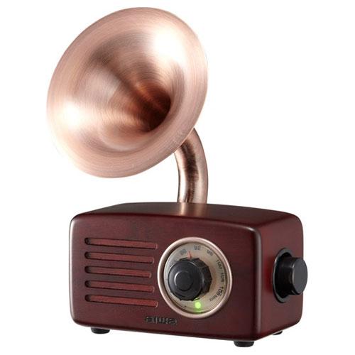 SB-FH20 アイワ FMラジオ付 Bluetoothスピーカー(ブラウンウッド/素材:くるみ材) aiwa BLUETOOTH SPEAKER WITH FM RADIO