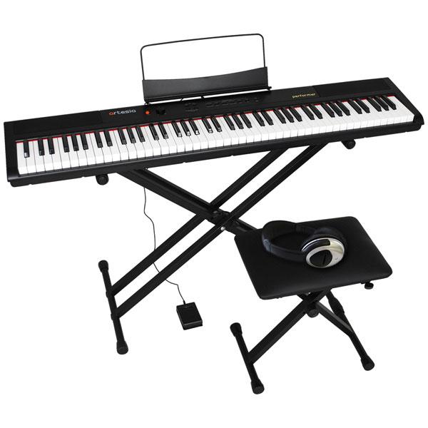 PERFORMER/BK 4テンSET アルテシア 電子ピアノ【椅子&ヘッドホン&キーボードスタンド付き】(ブラック) Artesia