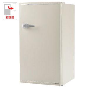 (標準設置料込)WRD-1085W エスキュービズム 85L 1ドア冷蔵庫(直冷式) レトロホワイト【右開き】 S-cubism レトロ冷蔵庫