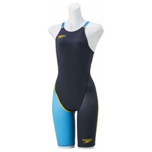 GW-SD48H06-NQ-M スピード 女性用競泳水着(Fina承認)(ネイビー×ターコイズ・M) Speedo Fastskin FS-PRO2 ウイメンズニースキン(2)