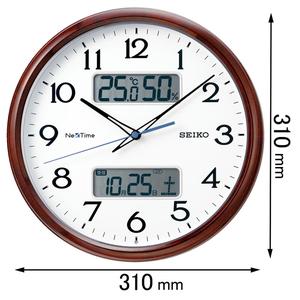 ZS-252-B セイコークロック 電波掛け時計 ハイブリッド電波掛時計 NexTime(ネクスタイム)茶木目模様光沢仕上げ [ZS252B]【返品種別A】