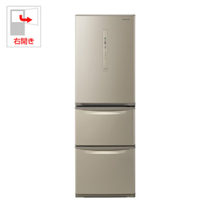 (標準設置料込)NR-C370C-N パナソニック 365L 3ドア冷蔵庫(シルキーゴールド)【右開き】 Panasonic エコナビ
