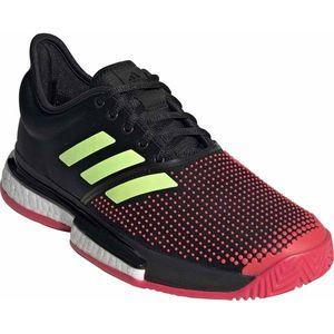 ADJ-G26297-230 アディダス レディース テニスシューズ(コアブラック/ハイレゾイエローS19/ショックレッドS19・23.0cm) adidas SoleCourt Boost W MC