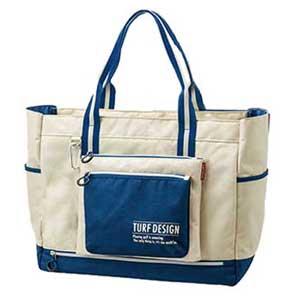 TDTB-1870 BE 朝日ゴルフ トートバッグ(ベージュ/ブルー) TURF DESIGN Tote Bag