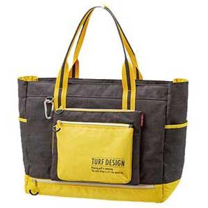 TDTB-1870 BK 朝日ゴルフ トートバッグ(ブラック/イエロー) TURF DESIGN Tote Bag