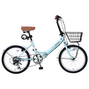 M-204-MT マイパラス 折りたたみ自転車 20インチ 6段変速 オートライト(クールミント) MYPALLAS MERRY