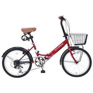 M-204-RD マイパラス 折りたたみ自転車 20インチ 6段変速 オートライト(レッド) MYPALLAS MERRY