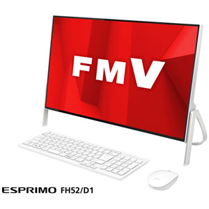 FMVF52D1W 富士通 23.8型 デスクトップパソコンFMV ESPRIMO FH52/D1 ホワイト (Celeron/メモリ 4GB/HDD 1TB/Office Personal 2019)