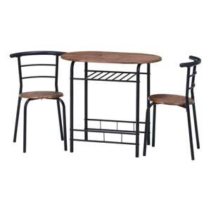 14600 不二貿易 KDダイニングテーブル&チェアー3点セット BR/BK 机 椅子 TC-039 BR/BK