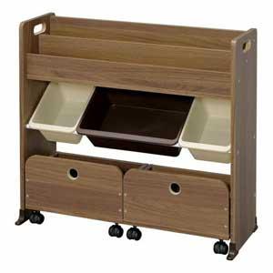 STHR-13 ウオ-ルナツトブラウン アイリスオーヤマ 収納カートトイハウスラック(ウォールナットブラウン) IRIS おもちゃ箱