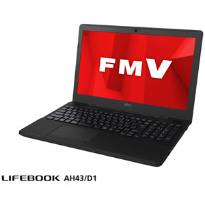 FMVA43D1BP 富士通 15.6型ノートパソコン FMV LIFEBOOK AH43/D1 シャイニーブラック (Ryzen 3 2300U/メモリ 4GB/SSD 256GB/Office H&B 2019)