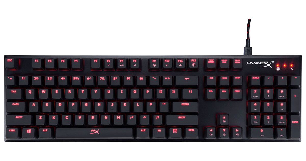 HX-KB1RD1-NA/A3 キングストン ゲーミングメカニカルキーボード 赤軸(リニア) 英語配列104キー Kingston HyperX Alloy FPS Mechanical Gaming Keyboard