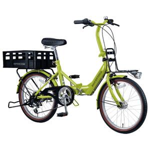 YG-0236 キャプテンスタッグ 折りたたみ自転車 20インチ 6段変速(グリーンティ) CAPTAIN STAG CONTANA(コンタナ)FDB206BAA