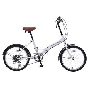 M-205-W マイパラス 折りたたみ自転車 20インチ 6段変速(シルキーホワイト) MYPALLAS