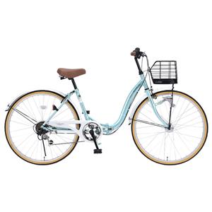 M-509-MT マイパラス 折たたみ自転車 26インチ 6段変速 折畳シティ26 オートライト(クールミント) MYPALLAS