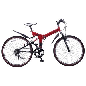 M-671-RD マイパラス 折りたたみ自転車 ATB 26インチ 6段変速 Wサス(レッド) MYPALLAS