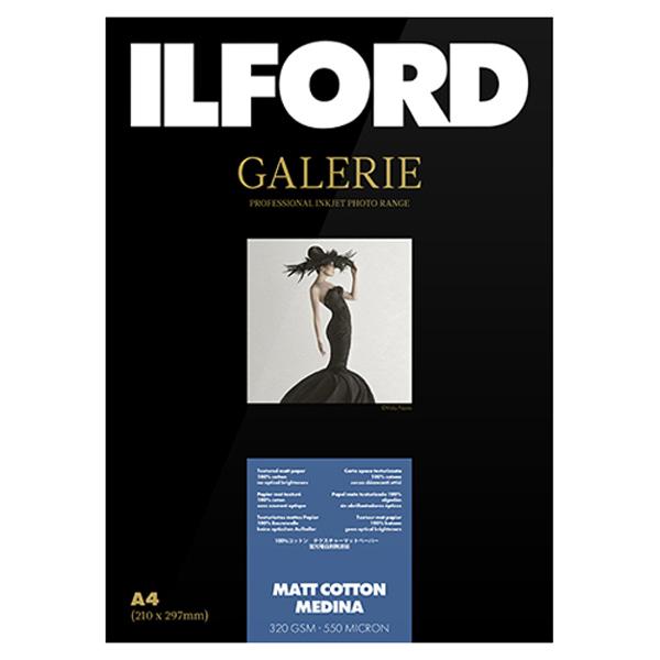 433238 イルフォード インクジェット用紙 マットコットンメディナ 厚手 マット A4 50枚 ILFORD GALERIE Matt Cotton Medina ギャラリー ファインアート コットン
