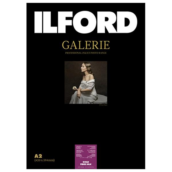 422127 イルフォード インクジェット用紙 ゴールドファイバーシルク 厚手 半光沢 A2 50枚 ILFORD GALERIE Gold Fibre Silk ギャラリー ファインアートバライタ