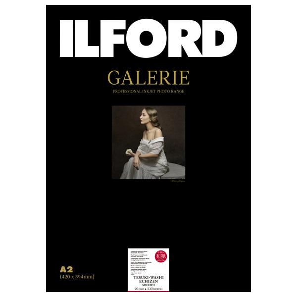 433326 イルフォード インクジェット用紙 手漉き和紙 越前 スムース(90gsm)薄手 スムースマット面質 A2 10枚 ILFORD GALERIE Tesuki-Washi EchiZen Smooth ギャラリー ファインアート和紙