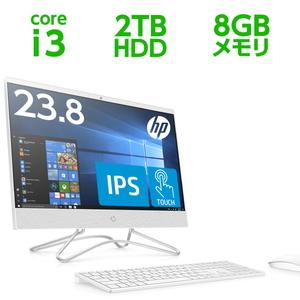 6DV83AA-AAAA HP(エイチピー) 23.8型 オールインワンPC HP 24-f0031jp ピュアホワイト (i3/8GB/2TB)