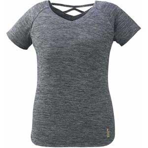 GOS-T1927-3-S ゴーセン レディース ゲームシャツ(ブラック杢・サイズ:S) GOSEN テニス・バドミントン用シャツ