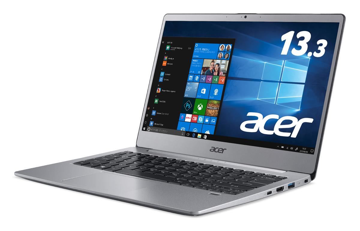 SF313-51-A34Q Acer(エイサー) 13.3型ノートパソコン Swift 3 スパークリーシルバー (Core i3/4GB/128GB)