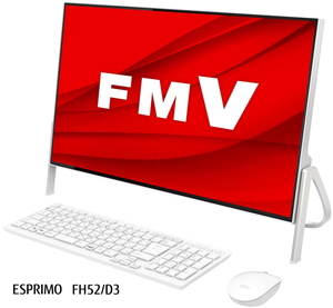 FMVF52D3W 富士通 FMV ESPRIMO FH52/D3 ホワイト - 23.8型デスクトップパソコン [Celeron / メモリ 4GB / SSD 512GB / DVDドライブ / Microsoft Office 2019]
