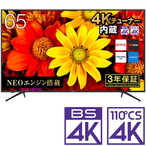 65E6000 ハイセンス 65V型地上・BS・110度CSデジタル4Kチューナー内蔵 LED液晶テレビ (別売USB HDD録画対応) Hisense 4K UHD TV【送料無料】