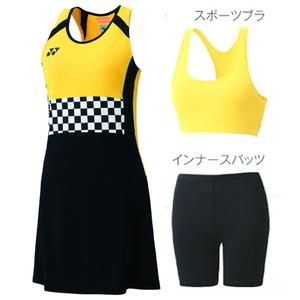 YO-20471-007-M ヨネックス レディース ワンピース(スポーツブラ・インナースパッツ付)(ブラック・サイズ:M) YONEX WOMEN'S GAME SHIRTS