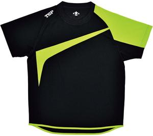TSP-033408-0039-2XS ティーエスピー 男女兼用 卓球用Tシャツ(ブラック×ライム・サイズ:2XS) TSP TT-180シャツ