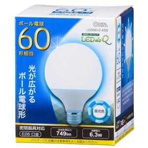 数量限定 LDG6D-G ショッピング AS9 オーム LED電球 ボール電球形 LDG6DGAS9 昼光色相当 749lm OHM