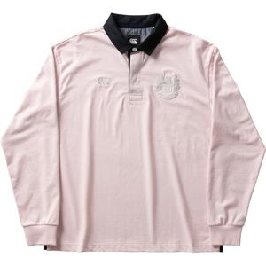 CCC-RA4007263-S カンタベリー メンズ ロングスリーブ ラガーシャツ(ピンク・サイズ:S) CANTERBURY L/S RUGGER SHIRT
