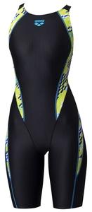 DS-ARN0075W-BKYL-O アリーナ 女性用競泳水着(ブラック×イエロー・Oサイズ) 【FINA承認】 arena セイフリーバックスパッツ(着やストラップ)20SS