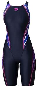 DS-ARN0075W-NVBU-M アリーナ レディース用水着(競泳用)(ネイビー×ブルー・Mサイズ) arena セイフリーバックスパッツ(着やストラップ)20SS