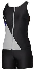 DS-FLA9935W-BKGY-O アリーナ 女性用フィットネス水着(ブラック×ブラック×Lグレイ×ロイヤル・Oサイズ) arena 大きめカラースナップ付きHASSUIセパレーツ(ぴったりパッド)(20SS)