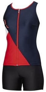DS-FLA9935W-NVRD-S アリーナ 女性用フィットネス水着(ネイビーN×ブラック×レッド×Nホワイト・Sサイズ) arena 大きめカラースナップ付きHASSUIセパレーツ(ぴったりパッド)(20SS)