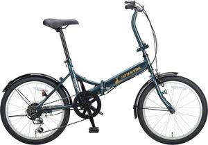 YG-1294(キヤプテンスタツグ) キャプテンスタッグ 折りたたみ自転車 20インチ(グリーン) CAPTAIN STAG ナビーFDB206