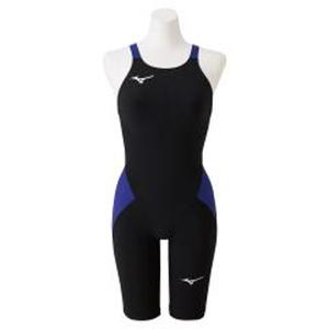 N2MG021192L ミズノ 女性用競泳水着 ハーフスーツ(ブラック×ブルー・サイズ:L) mizuno 【FINA承認】MX・SONIC α