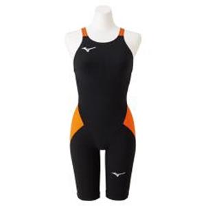 N2MG021195XS ミズノ 女性用競泳水着 ハーフスーツ(ブラック×オレンジ・サイズ:XS) mizuno 【FINA承認】MX・SONIC α