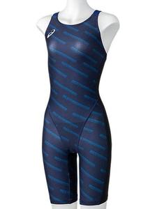 2162A129-400-XL アシックス 女性用競泳水着 ハーフスパッツ(XL・ミッドナイト) 【FINA承認】競泳用