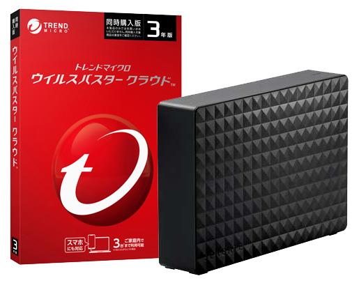 ウイルスバスター クラウド 【3年版 3台利用可能】【同時購入版】DVD-ROM版 + 外付けHDD3TB