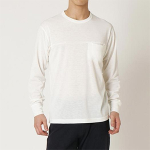B2MA054102L ミズノ メンズ クルーネックTシャツ(オフホワイト・サイズ:L) mizuno ウールライトインナーポケットクルーネックシャツ